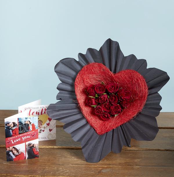 The Dozen Red Rose Heart Bouquet - £27.99