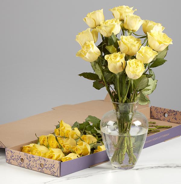 The Letterbox Friendship Dozen Yellow Roses - £19.99