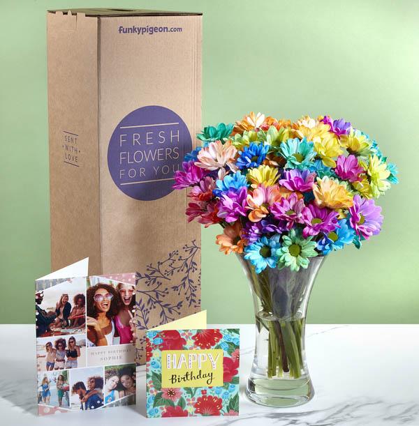 The Rainbow Chrysanthemums Bouquet - £17.99