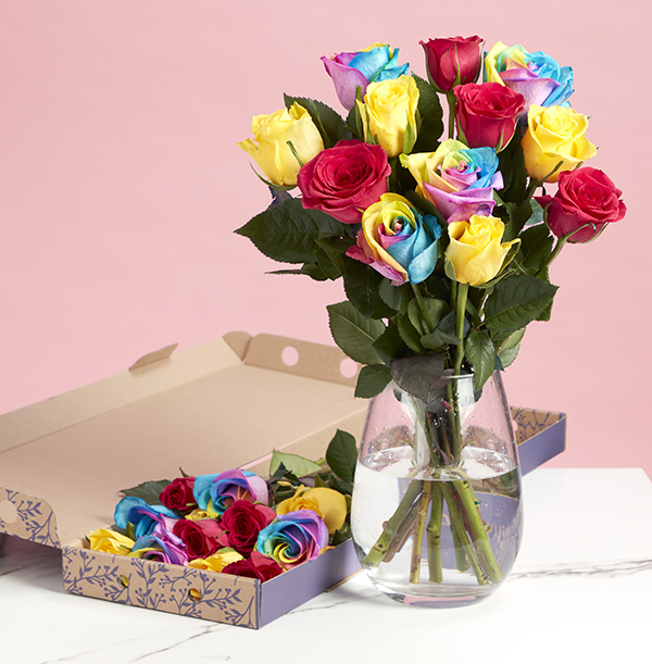 The Letterbox Rainbow Roses - £23.99