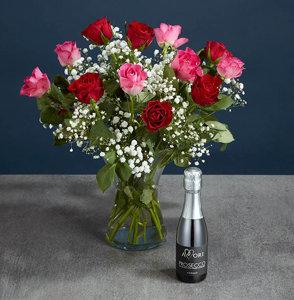 Red & Pink Rose Bouquet with Prosecco - £36.99