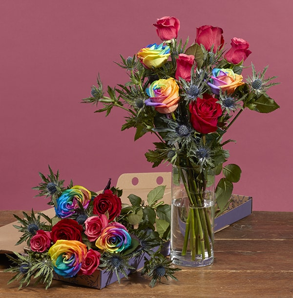 The Letterbox Christmas Rainbow Roses - £25.99
