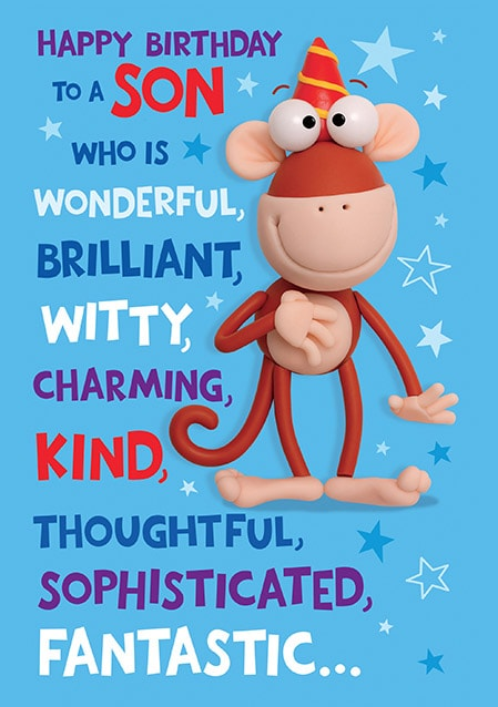 Astonishing Funny Monkey Son Birthday Card Funky Pigeon Funny Birthday Cards Online Elaedamsfinfo