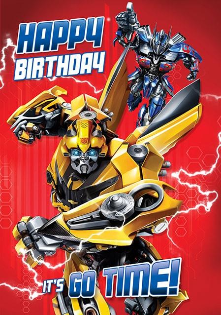 Go Time Transformers Birthday Card