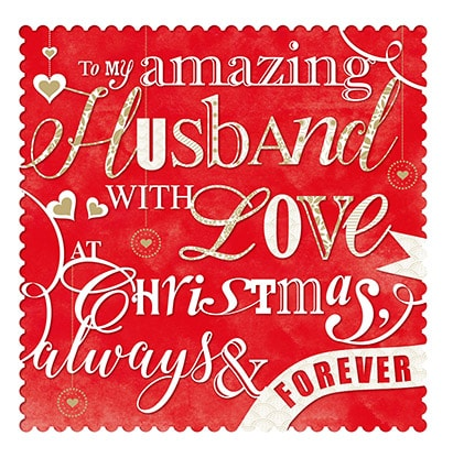 Husband Christmas Cards.Amazing Husband With Love At Christmas Card