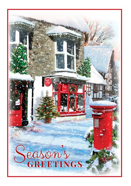 Post Office Hours Christmas Eve.Seasons Greetings Post Office Christmas Card