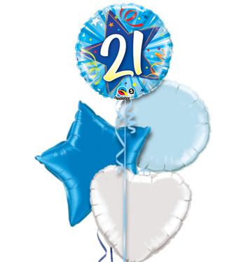 21st Birthday Blue Star Balloon Bouquet YES NO Preview Image Is Not Found