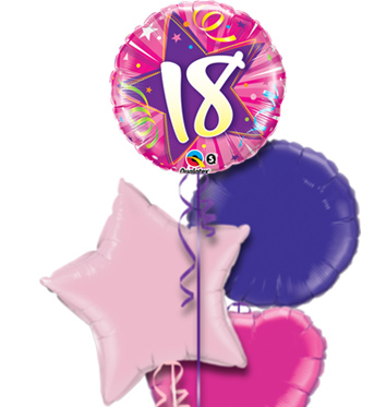 Pink 18th Birthday Balloon Bouquet YES NO Preview Image Is Not Found