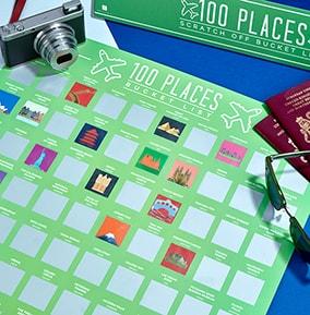 100 Places Bucket List Scratch Poster