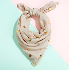 Natural and Gold Bee Print Scarf