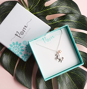 Dancing Silver Plated Unicorn & Rose Gold Star Necklace