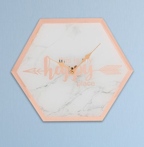 Marble Wall Clock - 'This is My Happy Place'