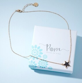 Black Crystal Star With Gold Chain Necklace