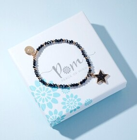 Black Crystal Star With Gold Chain Bracelet