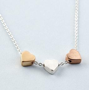 Trio Heart Silver Necklace