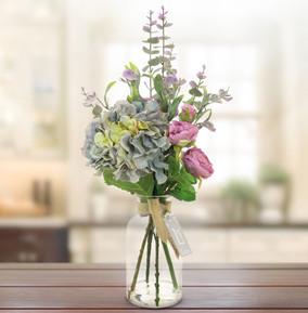 Blue & Lilac Wild Artificial Flower Arrangement in Bottle