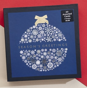 Magical Navy Wreath Christmas Card Box Set - Pack of 20