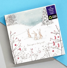 Starry Night Rabbits Christmas Card - Pack Of 12
