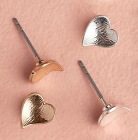 Gold & Silver Plated Heart Earring Set