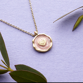 Gold Heart With Pink Enamel Necklace