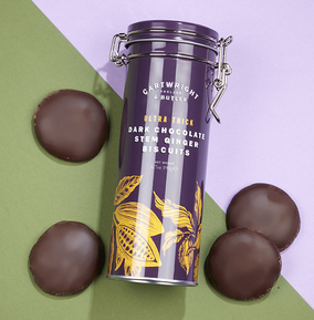 Cartwright & Butler Ultra Thick Dark Chocolate Ginger Biscuits in tin
