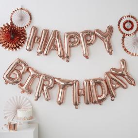 Ginger Ray Balloon Bunting - Happy Birthday - Rose Gold