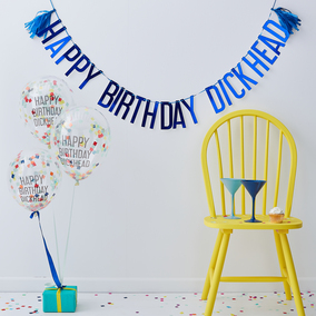 Ginger Ray 'Happy Birthday Dickhead' Balloons & Bunting Pack