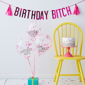 Ginger Ray 'Birthday Bitch' Balloons & Bunting Pack