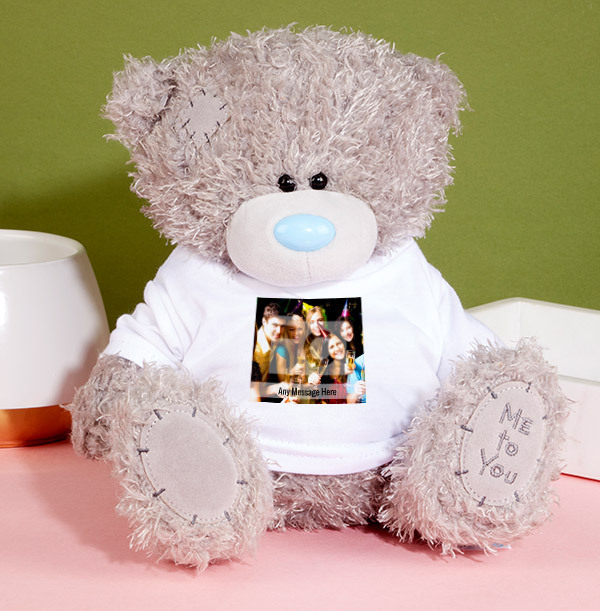 Square Photo & Text Tatty Teddy Bear