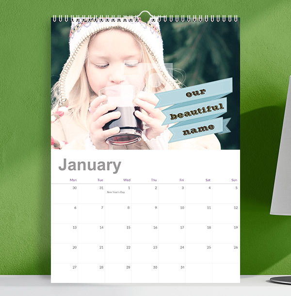 Full Photo Calendar With Personalised Banner Text