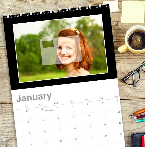 Black Background Personalised Photo Calendar - Grid Dates