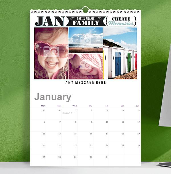 Memories Personalised Photo Family Calendar