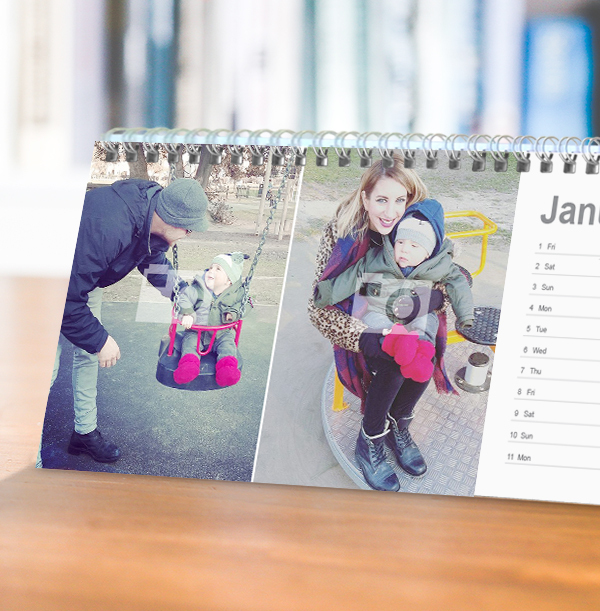 Double Photo Personalised Calendar - Lined Dates