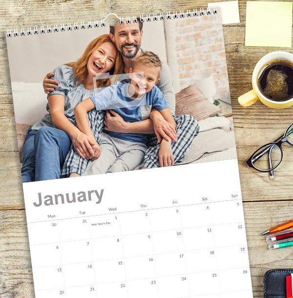 Single Photo Upload Calendar For Him - Grid Dates