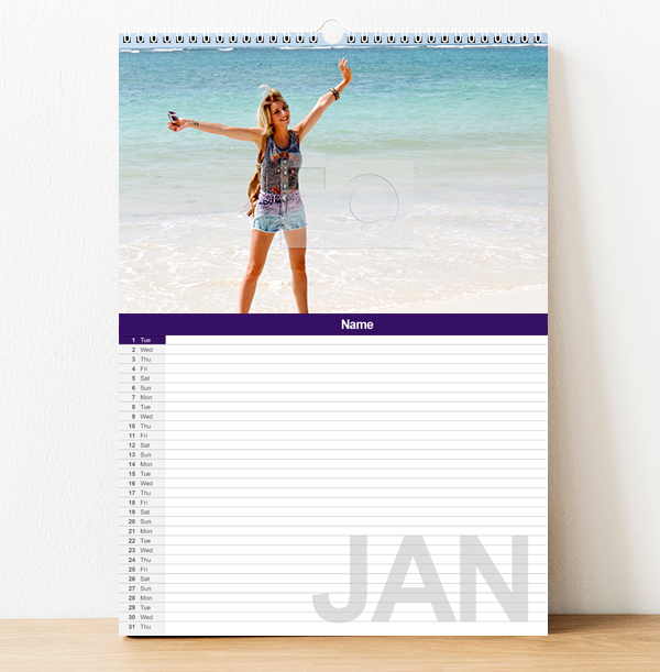 Personalised Family Calendar for One