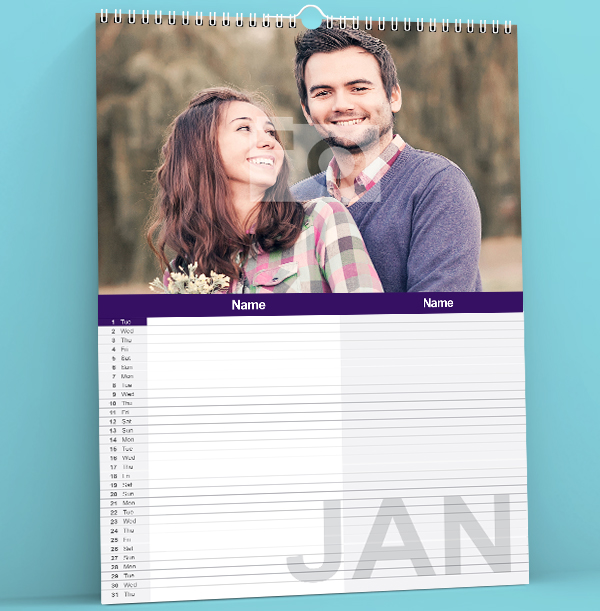 Personalised Family Calendar For Two