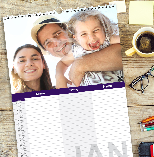 Personalised Family Calendar For Three