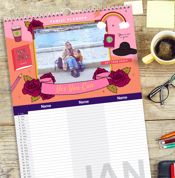 Colourful Personalised Family of Three Calendar