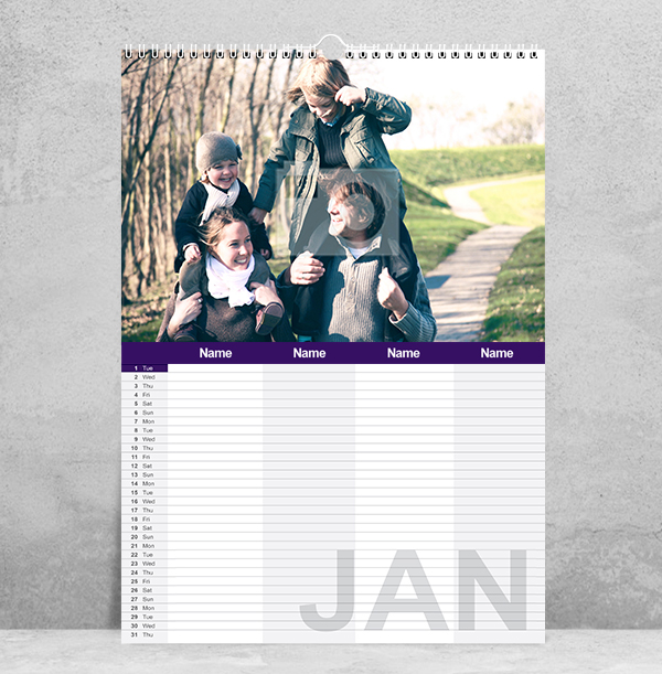 Personalised Family Calendar for Four
