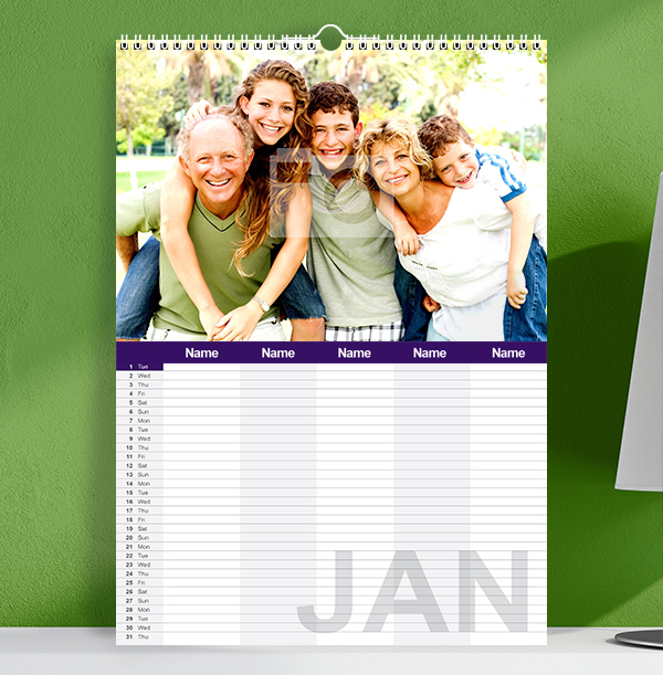 Personalised Family Calendar For Five