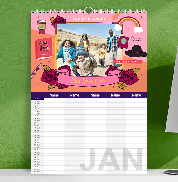 Colourful Personalised Family of Five Calendar