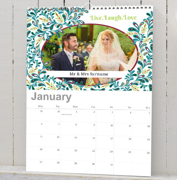 Floral Personalised Photo Calendar for Couples