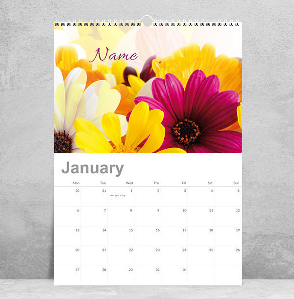 Personalised Floral Name Calendar