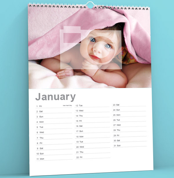 Full Photo Personalised Calendar - Lined Dates