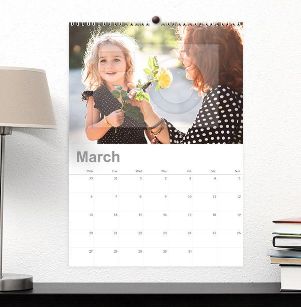 Single Photo Upload Calendar For Her - Grid Dates