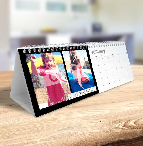 Black Border & Personalised Photo & Text Calendar