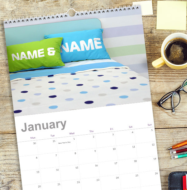Personalised Couple's Names Calendar