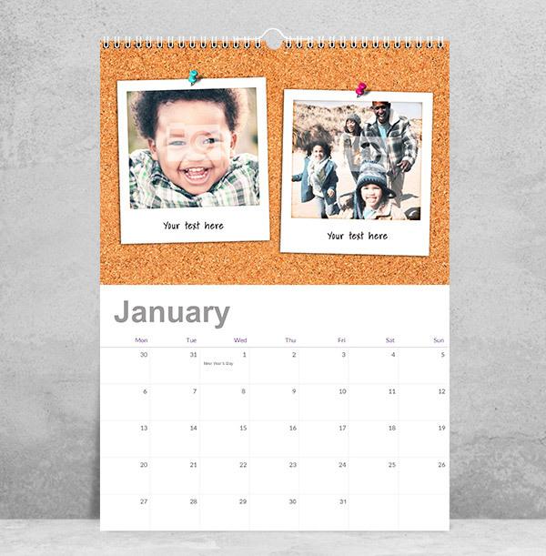 Polaroid Noticeboard Photo Collage Calendar