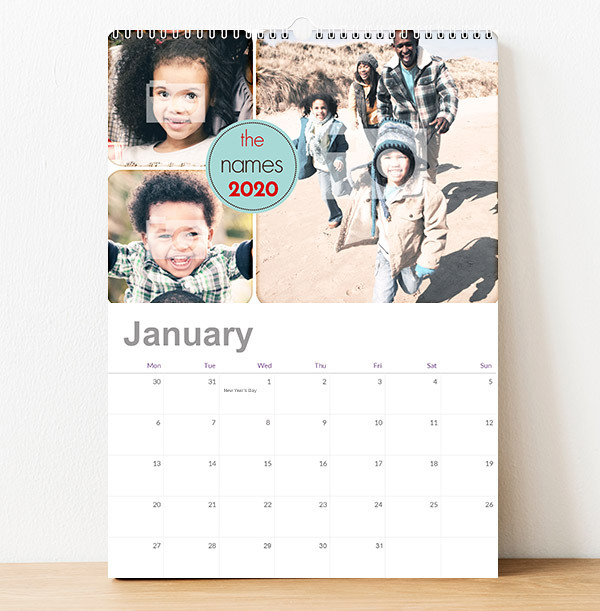 Photo Collage & Circle Text Personalised Calendar