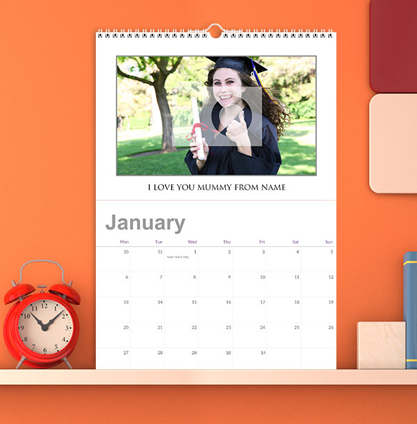 White Background Personalised Photo Calendar